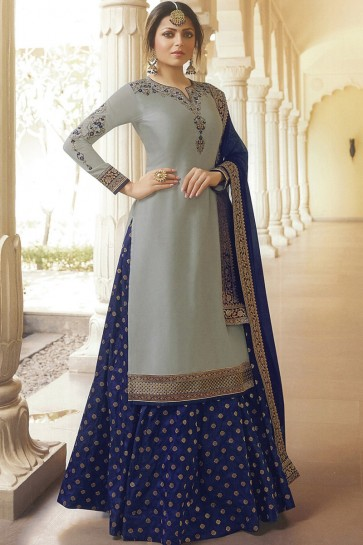 Drashti Dhami Grey Georgette Satin Designer Lehenga Suit With Nazmin Dupatta