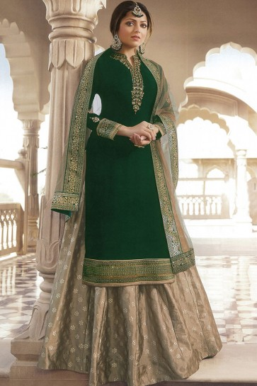 Drashti Dhami Designer Green Georgette Satin Beautiful Embroidered Lehenga Suit With Nazmin Dupatta