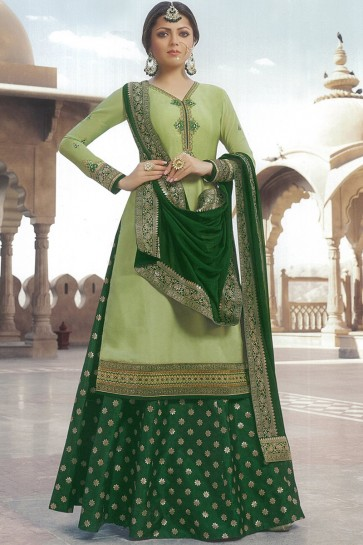 Drashti Dhami Sea Green Designer Georgette Satin Lehenga Suit With Nazmin Dupatta