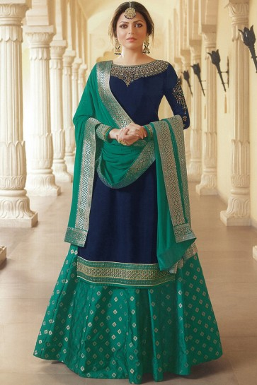 Drashti Dhami Navy Blue Embroidered Lehenga Suit With Nazmin Dupatta And Silk Jequard Bottom