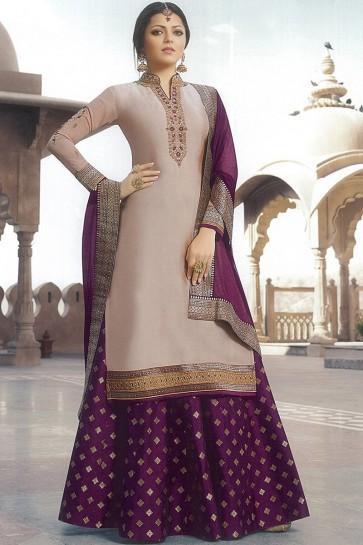 Drashti Dhami Designer Embroidered Beige Georgette Satin Lehenga Suit With Nazmin Dupatta