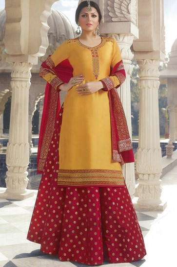 Drashti Dhami Designer Marvelous Orange Lehenga Suit With Nazmin Dupatta And Silk Jequad Bottom