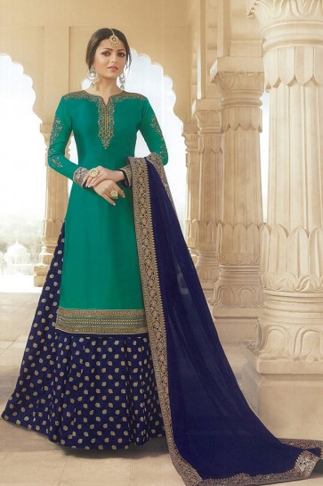 Drashti Dhami Designer Diwali Special Rama Green Embroidered Lehenga Suit With Nazmin Dupatta