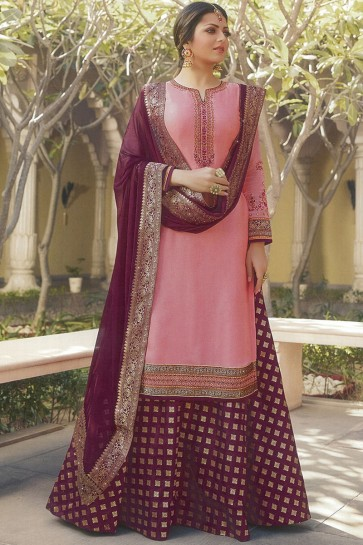 Drashti Dhami Peach Embroidered Designer Georgette Satin Lehenga Suit With Nazmin Dupatta