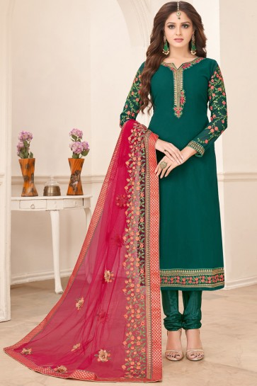 Pretty Green Embroidered Faux Georgette Salwar Suit And Dupatta