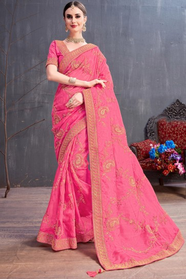 Pink Lovely Coding And Sequence Embroidered Organza Saree With Silk Blouse