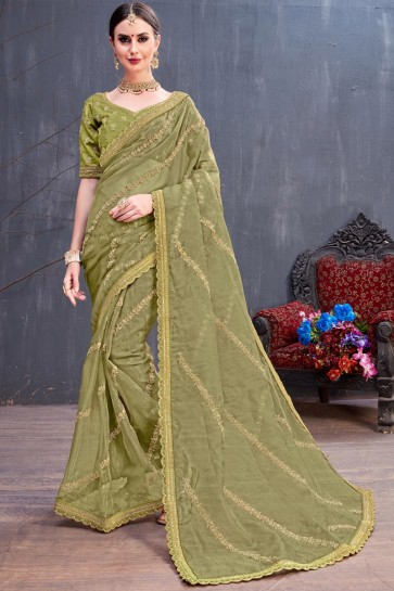 Mehendi Green Coding Embroidered Organza Saree With Silk Blouse