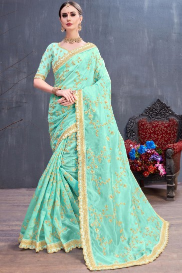 Party Wear Turquoise Coding And Sequence Embroidered Organza Beautiful Saree With Silk Blouse