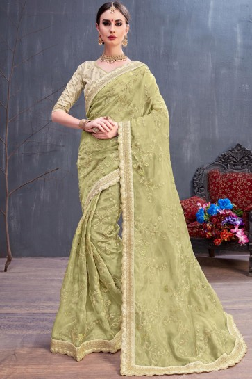 Classic Mehendi Green Coding And Sequence Embroidered Organza Saree With Silk Blouse