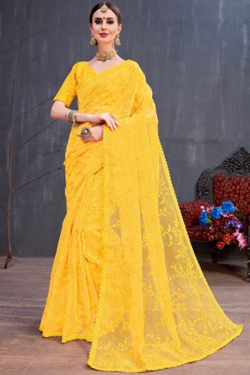 Diwali Special Stylish Resham Embroidered Organza Yellow Saree With Silk Blouse