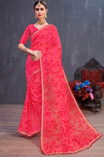 Red Party Wear Resham Embroidered Organza Stylish Saree With Silk Blouse