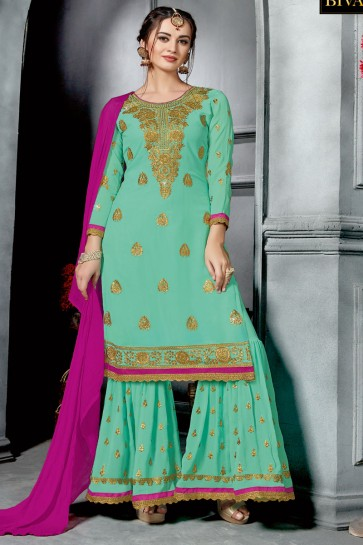 Turquoise Georgette Designer Embroidered Sharara Plazo Salwar Suit With Nazmin Dupatta