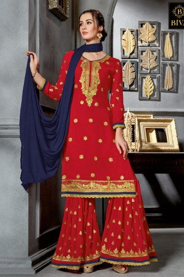 Embroidered Red Georgette Sharara Plazo Salwar Suit With Nazmin Dupatta