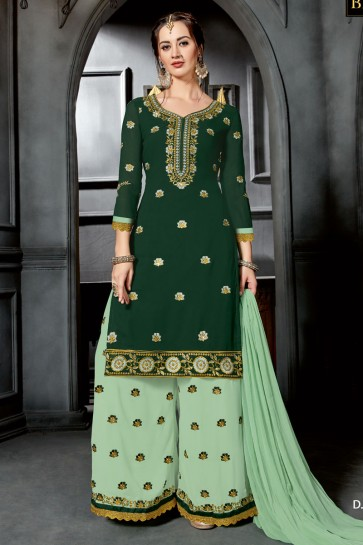 Supreme Green Designer Embroidered Sharara Plazo Salwar Suit With Nazmin Dupatta