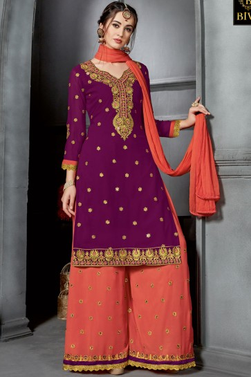 Admirable Purple Georgette Embroidered Sharara Plazo Salwar Suit With Nazmin Dupatta