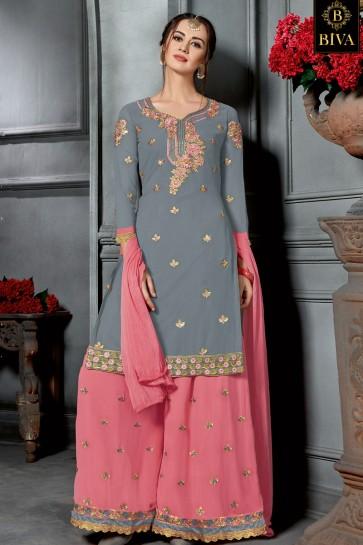 Grey Georgette Embroidered Sharara Plazo Salwar Suit
