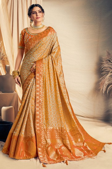Appealing Mustard Thread Work And Embroidered Silk Saree With Embroidered Blouse