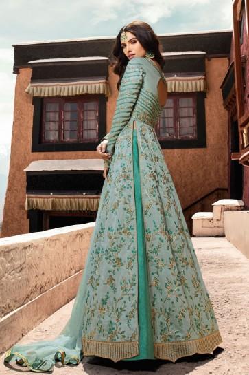 Net Fabric Designer Embroidery Work Sky Blue Anarkali Suit And Dupatta