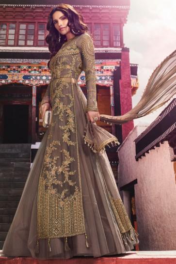 Heavy Designer Grey Embroidered Designer Abaya Style Anarkali Suit And Dupatta