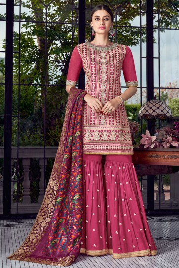 Pink Embroidered Silk Plazzo Suit With Jacquard Dupatta