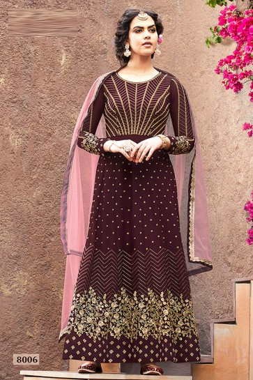 Excellent Faux Georgette Fabric Coffee Embroidered And Beads Work Abaya Style Anarkali Suit And Dupatta