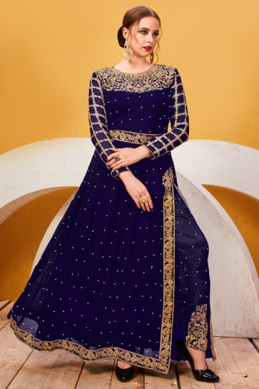 Faux Georgette Fabric Navy Blue Embroidery And Lace Work Designer Salwar Suit With Chiffon Dupatta