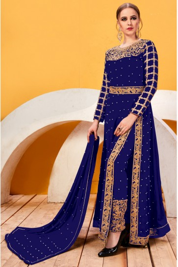 Appealing Embroidery And Lace Work Blue Faux Georgette Salwar Suit With Chiffon Dupatta