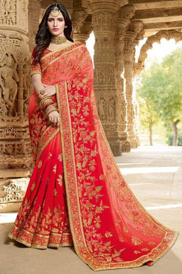 Red Embroidery And Beads Work Designer Georgette Silk Saree And Art Silk Blouse