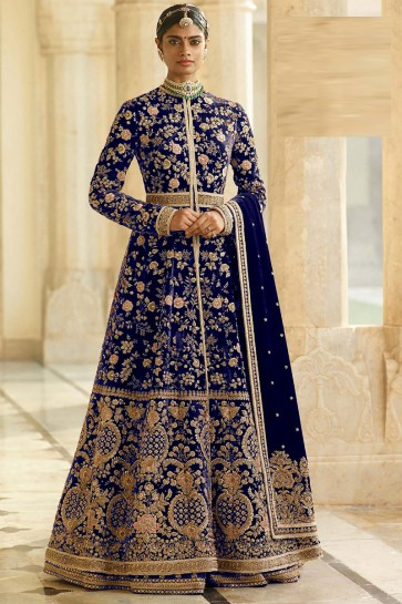 Embroidery And Beads Work Blue Velvet Fabric Abaya Style Anarkali Suit And Dupatta
