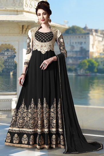 Superb Black Faux Georgette Beads And Embroidery Work Abaya Style Anarkali Suit With Chiffon Dupatta