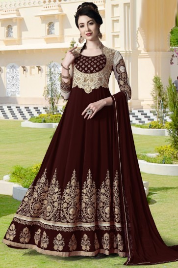 Beads Work And Lace Work Maroon Faux Georgette Abaya Style Anarkali Suit With Chiffon Dupatta