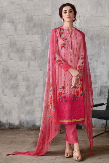 Lovely Embroidered Pink Georgette Salwar Kameez With Chiffon Dupatta