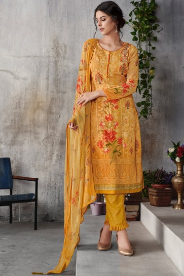 Yellow Embroidered Georgette Salwar Suit With Chiffon Dupatta