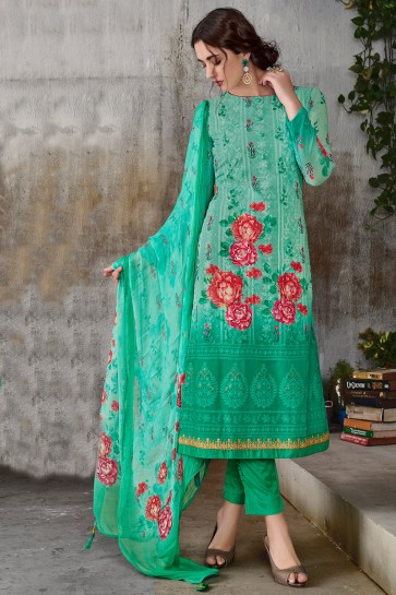 Sea Green Georgette Embroidered Salwar Suit With Chiffon Dupatta