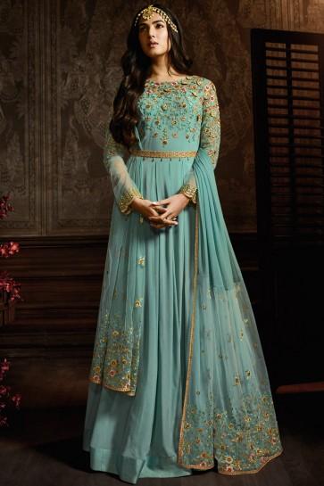 Beautiful Sky Blue Designer Georgette Embroidered Anarkali Suit And Dupatta