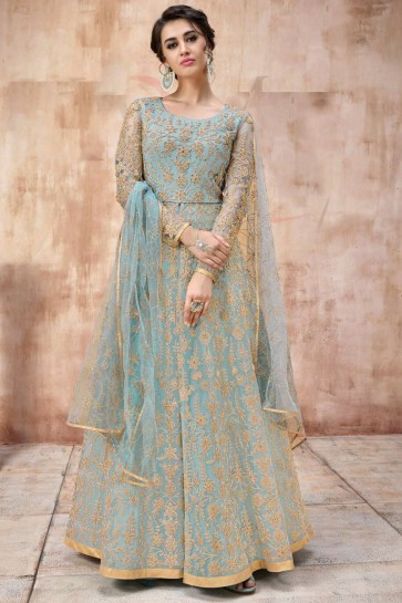 Beads Work And Lace Work Sky Blue Abaya Style Anarkali Suit With Net Dupatta