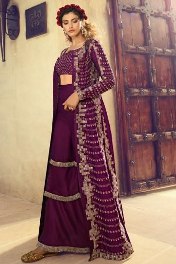 Splendid Embroidered Purple Silk Plazzo Suit And Dupatta