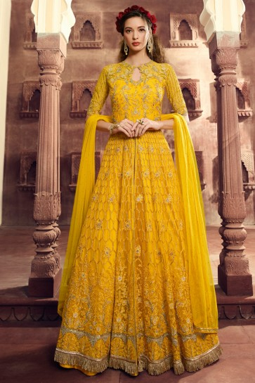 Elegant Yellow Embroidered Net Anarkali Suit And Dupatta