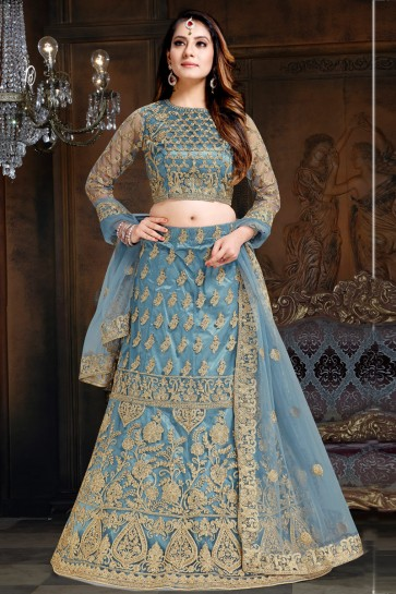 Supreme Grey Embroidered Net And Satin Lehenga With Net Dupatta