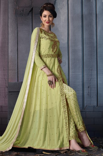 Charming Pista Embroidered Faux Georgette Anarkali Suit With Chiffon Dupatta