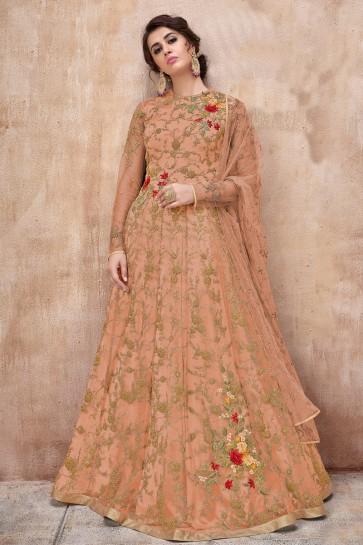 Designer Embroidered Peach Net Anarkali Suit And Dupatta