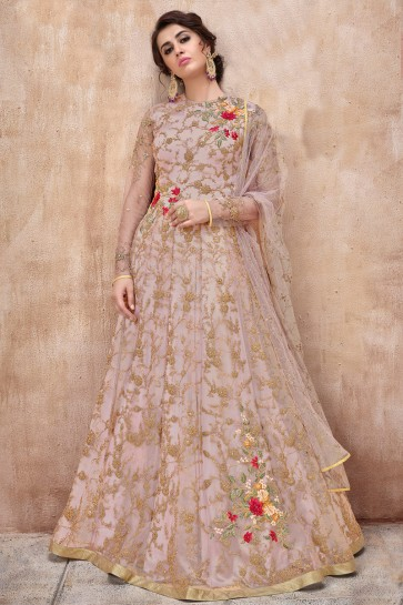 Designer Wine Net Anarkali Suit And Dupatta