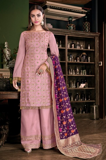 Fascinating Pink Satin Embroidered And Lace Work Plazzo Suit With Jacquard Dupatta
