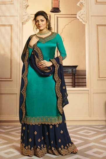 Drashti Dhami Georgette And Santoon Bottom Turquoise Georgette Satin Embroidery And Lace Work Plazzo Suit