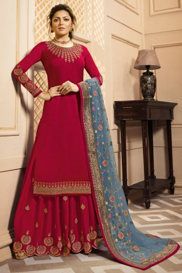 Drashti Dhami Georgette Satin Red Lace Work And Embroidered Plazzo Suit With Net Dupatta
