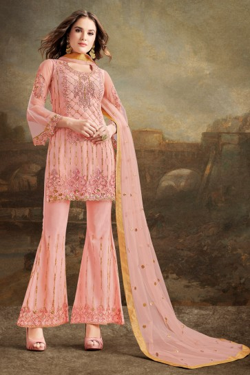Beads Work And Lace Work Silk Fabric Pink Sharara Style Plazzo Suit With Net Dupatta