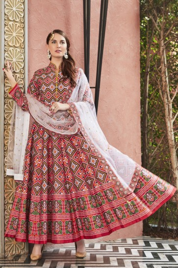 Silk Fabric Peach Printed And Hand Work Abaya Style Anarkali Suit With Net Dupatta
