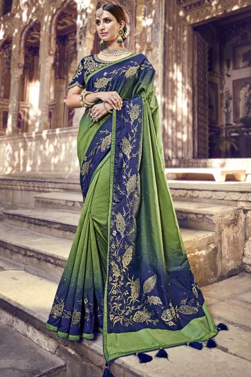 Lace Work And Embroidered Green And Blue Banarasi Silk Fabric Saree And Blouse