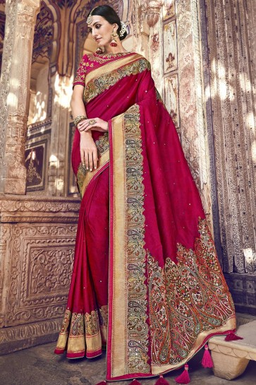 Heavy Designer Maroon Lace Work And Embroidered Banarasi Silk Fabric Saree And Blouse