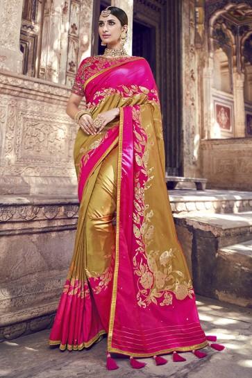 Golden And Pink Beads And Lace Work Banarasi Silk Fabric Designer Saree And Blouse